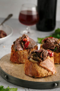 Chicken Livers With Onions On Baguette.