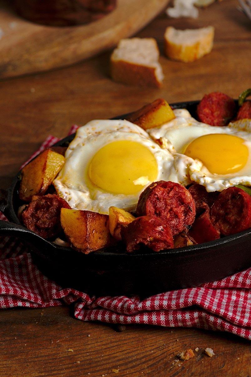 Chorizo casserole in cast iron.