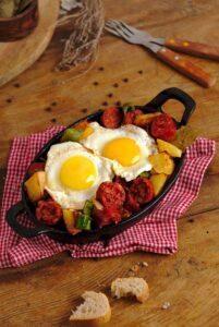 Chorizo casserole with eggs and potatoes.