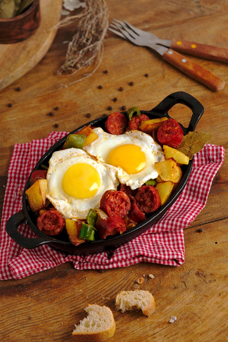 Chorizo casserole with eggs and potatoes.