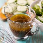 blackcurrant vinaigrette in a glass cup