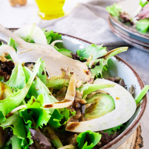 Fennel and Cucumber Salad with a Blackcurrant Vinaigrette in a Bowl.