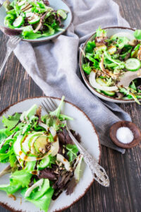 Fennel and Cucumber Salad with a Blackcurrant Vinaigrette in 3 Bowls.