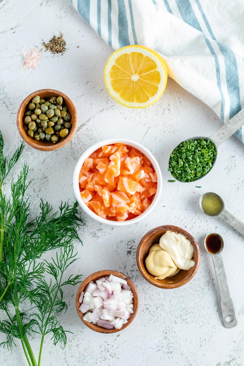 Salmon Tartare Ingredients.