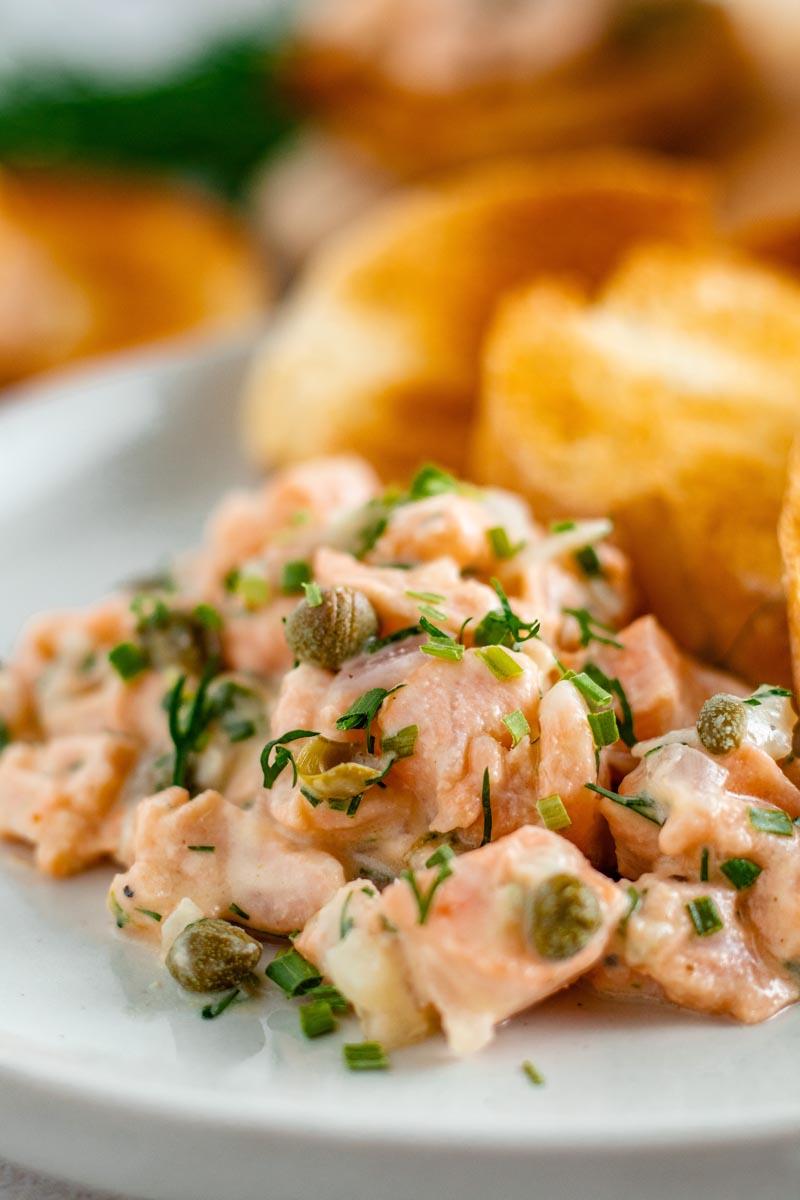 Salmon Tartare on Plate.