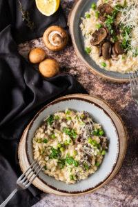 lamb broth mushroom risotto in bowls