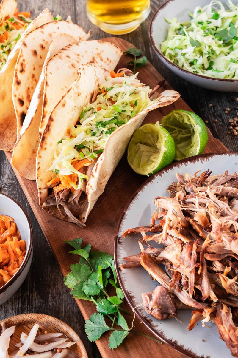 lamb tacos on cutting board