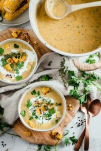 corn, potato, and leek soup in bowl