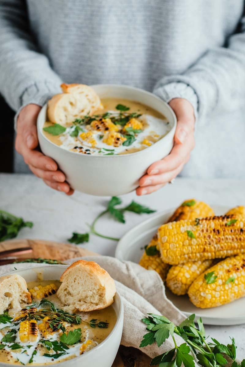 leek corn potato soup in bowl