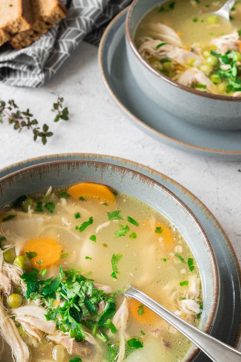 Leftover Turkey Soup in 2 bowls.