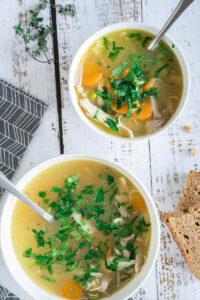 turkey soup in bowls