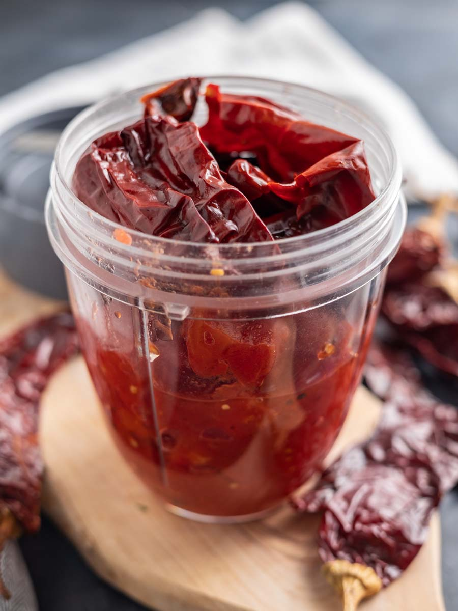 dried chile adobo in a food processor