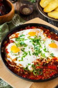 Mexican Baked Eggs in Pan.