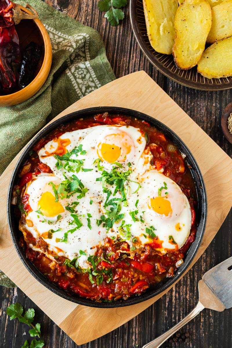 Mexican Baked Eggs and Fingerling Potatoes.