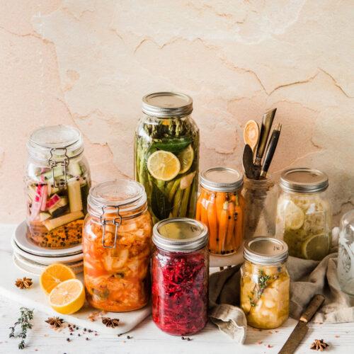 Pickled Vegetables in Jars.