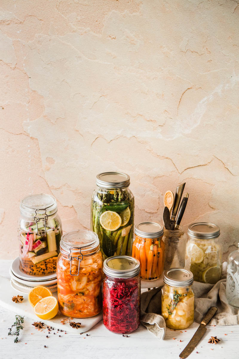 Pickled Vegetables in Jars.
