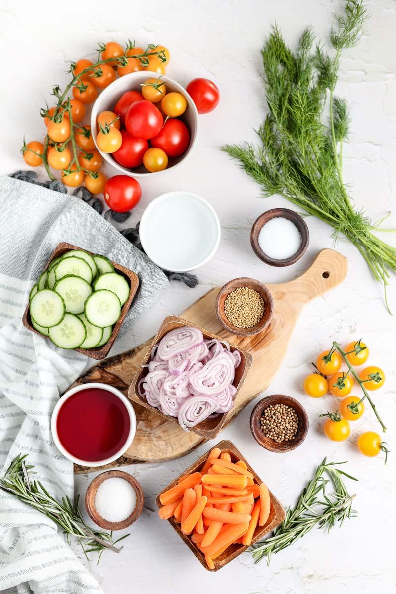 vegetables cut on a cutting board