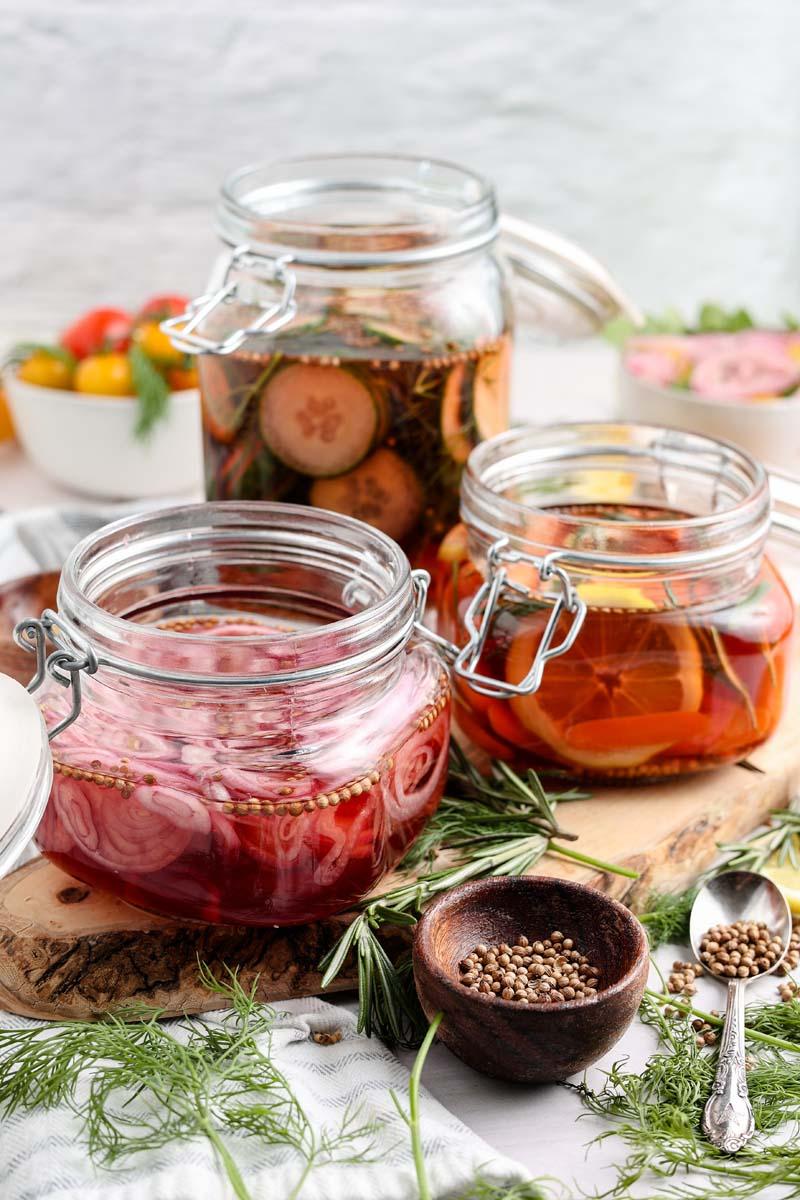 pickled vegetables in jars