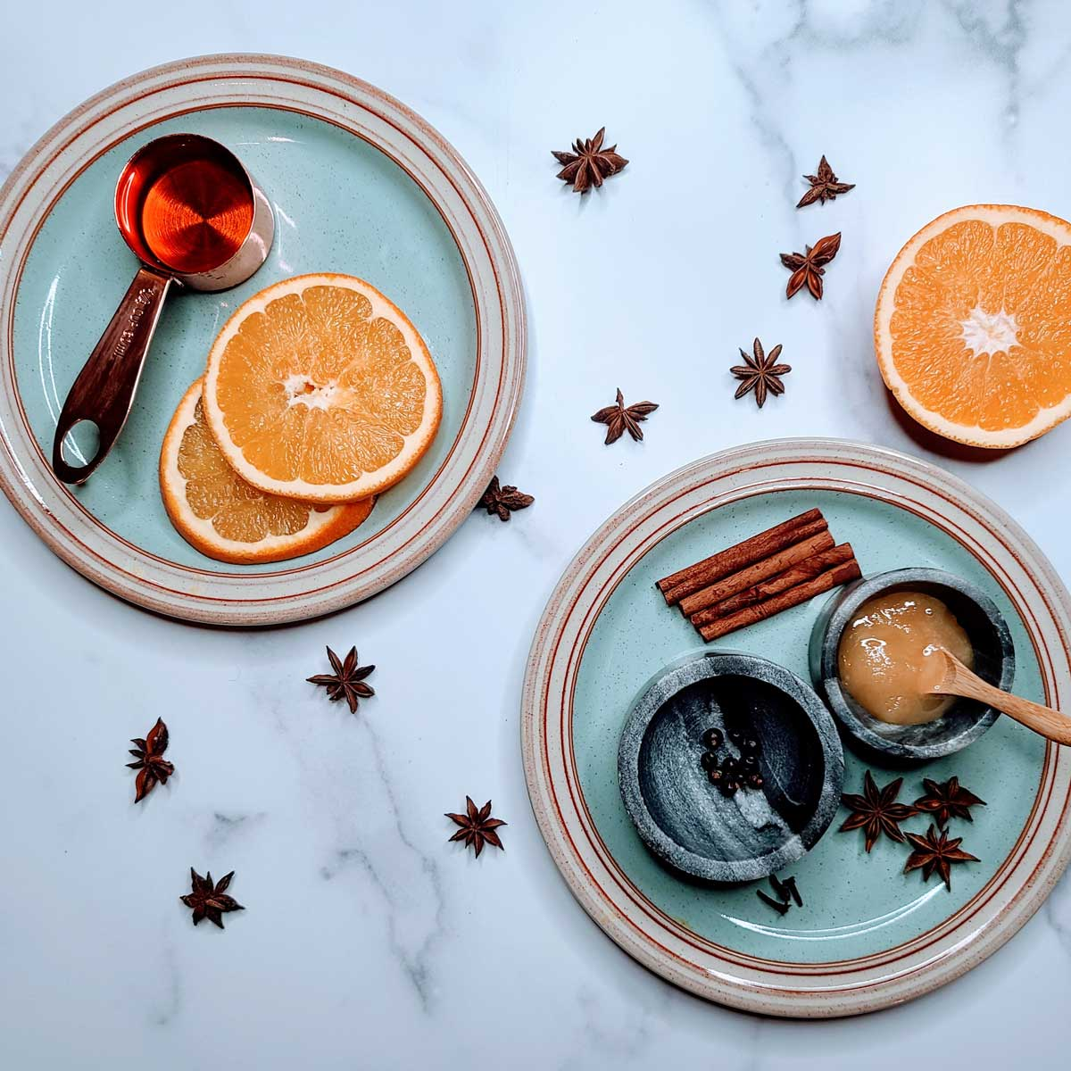 Spiced mulled wine ingredients.