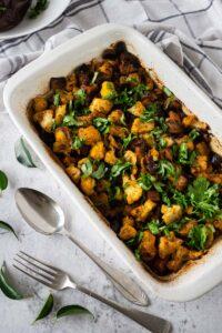 Vadouvan Cauliflower and Eggplant in casserole