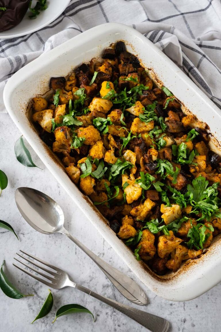 Vadouvan Cauliflower and Eggplant in casserole