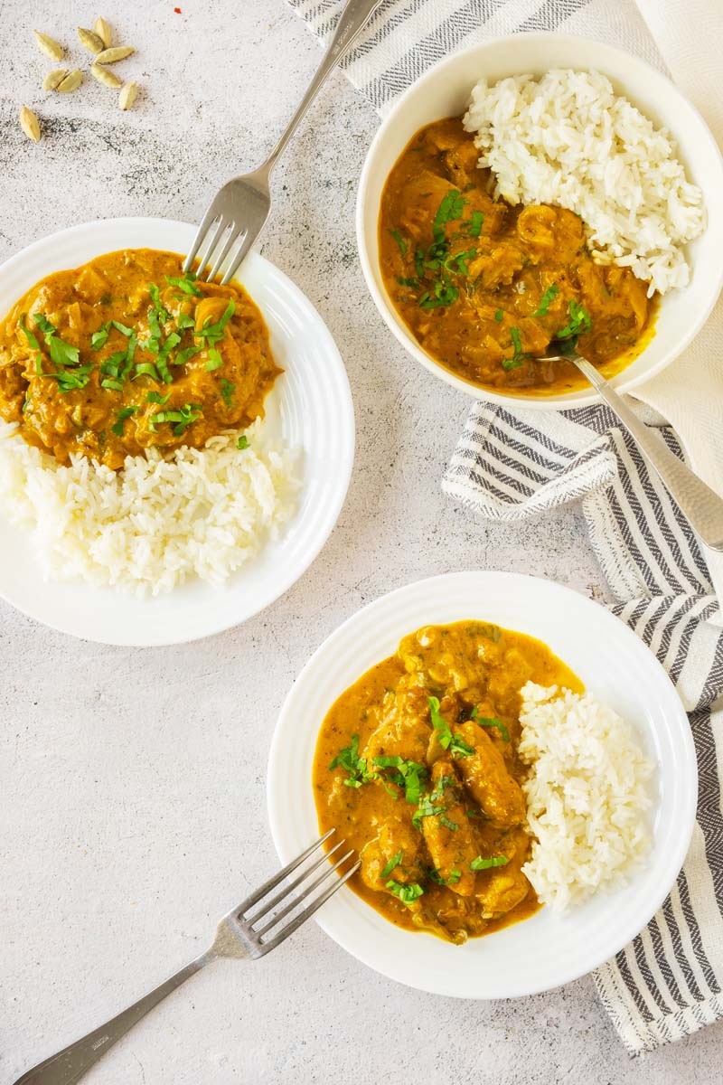 Vadouvan Curry Chicken on 3 Plates.