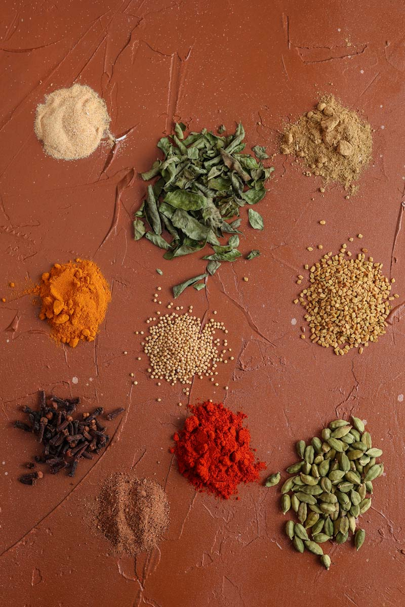vadouvan spices on a background
