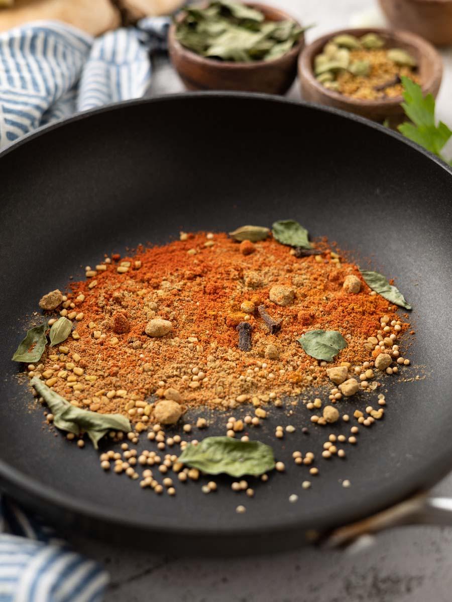 vadouvan spices in a dry sauté pan