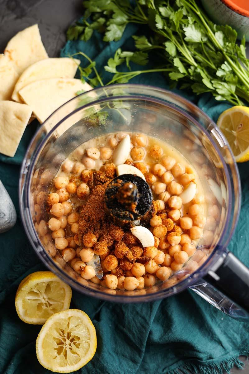 vadouvan hummus ingredients in a food processor