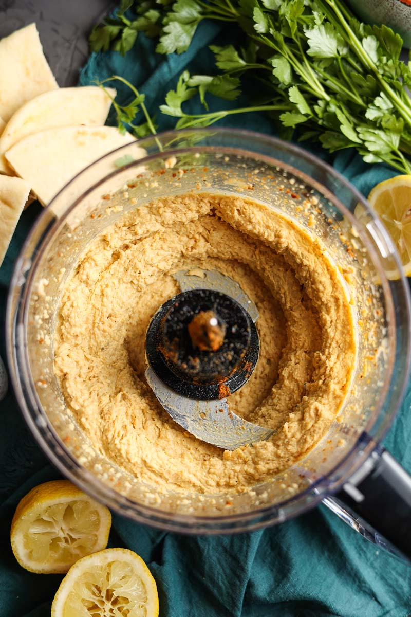 vadouvan hummus in a food processor blended