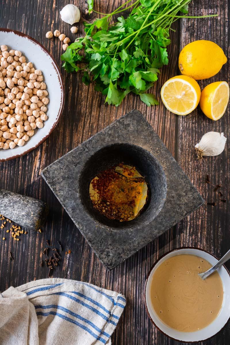 Vadouvan Hummus ingredients.