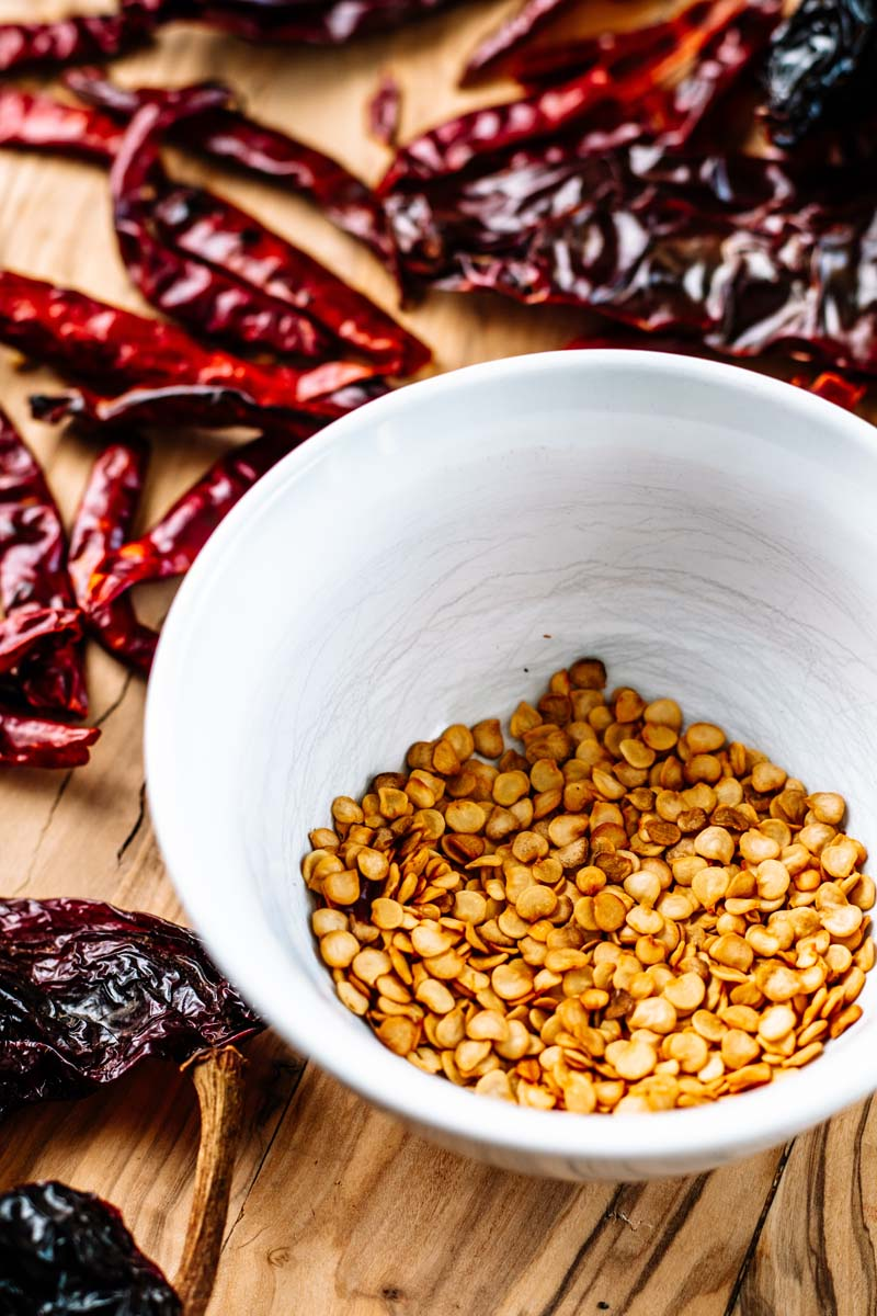 Chiles and seeds.