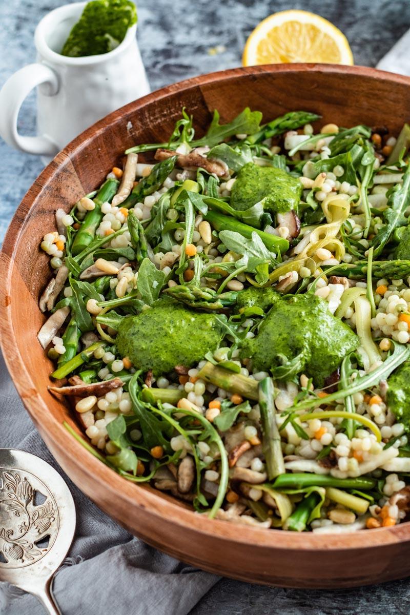 mushroom asparagus couscous salad in bowl