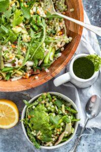 mushroom couscous salad in bowls