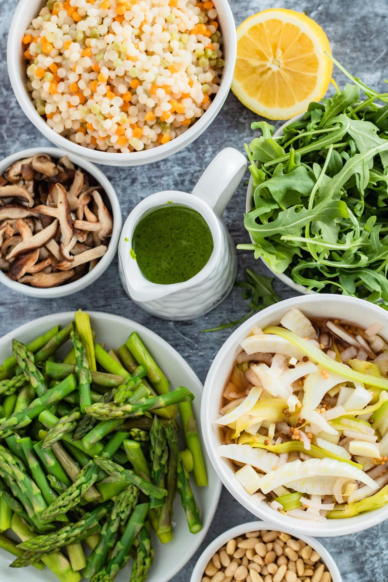 mushroom asparagus couscous salad components