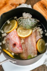 fish fumet ingredients in pot