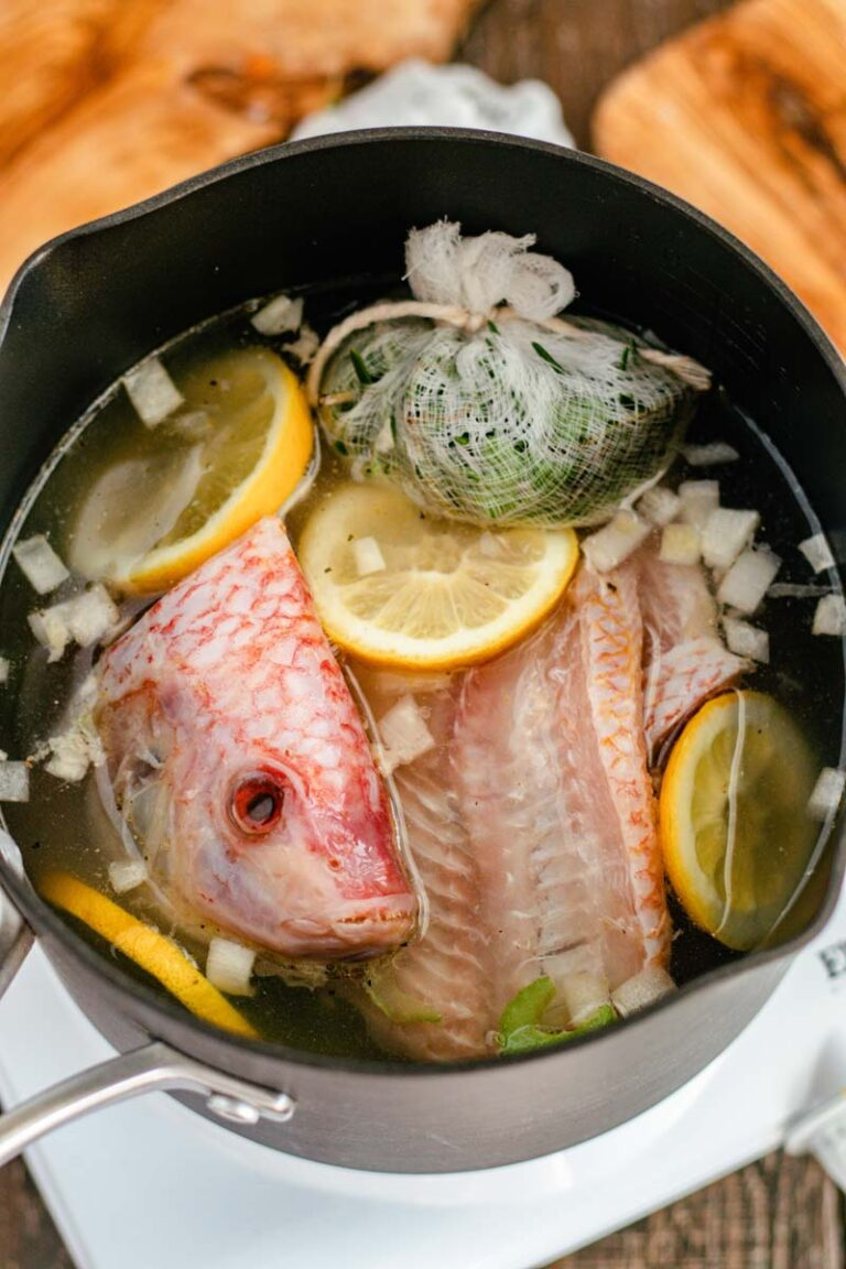 fish fumet ingredients in pot