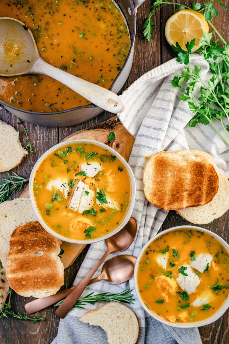 bouillabaisse in bowls
