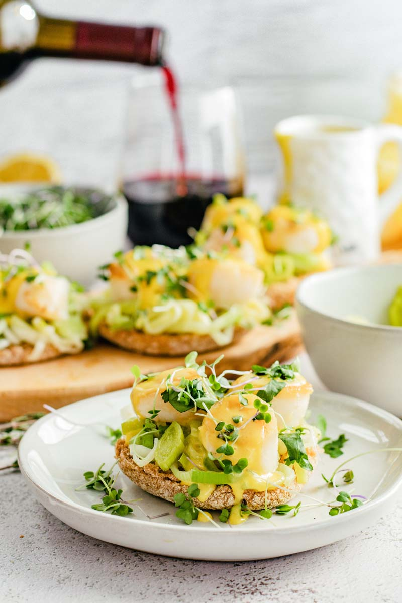 scallop benedict on plate