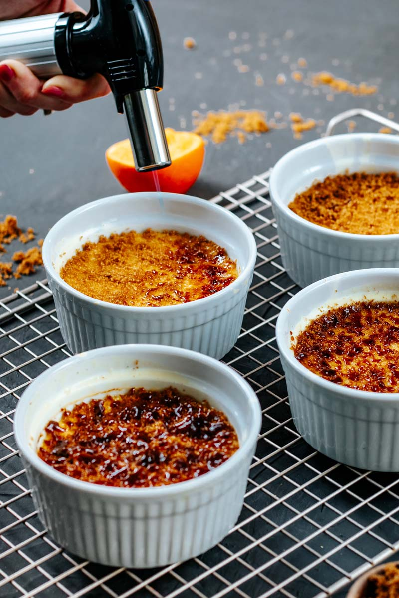 creme brulee with sugar crust in ramekins