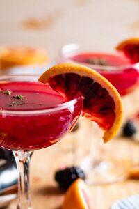 blackberry mezcal margarita in glass