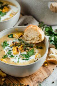 leek, corn, potato soup in bowl