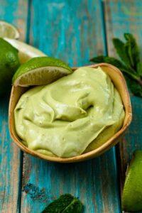 avocado yogurt sauce in bowl