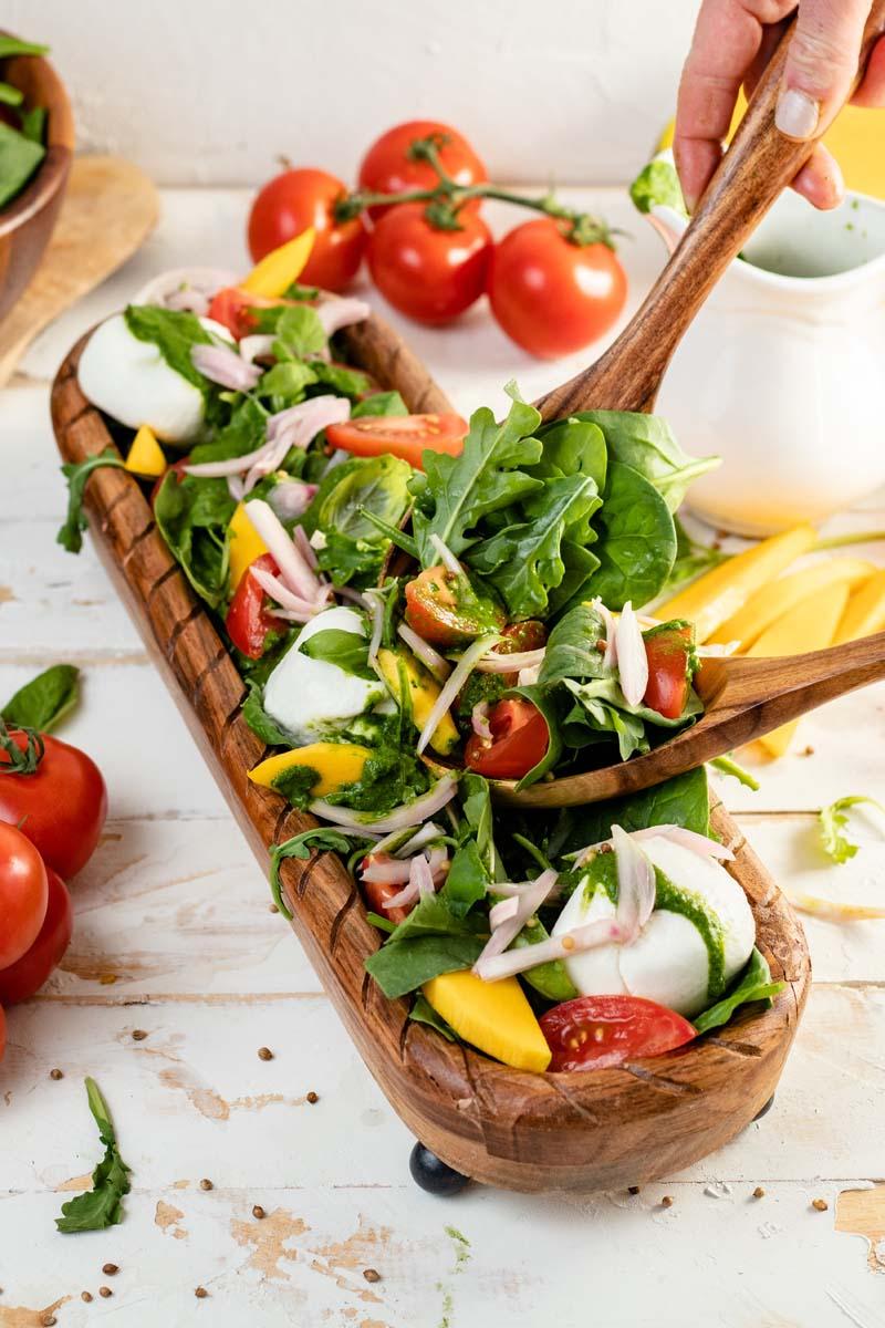 burrata salad on platter