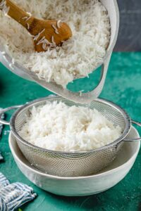basmati rice strained through sieve