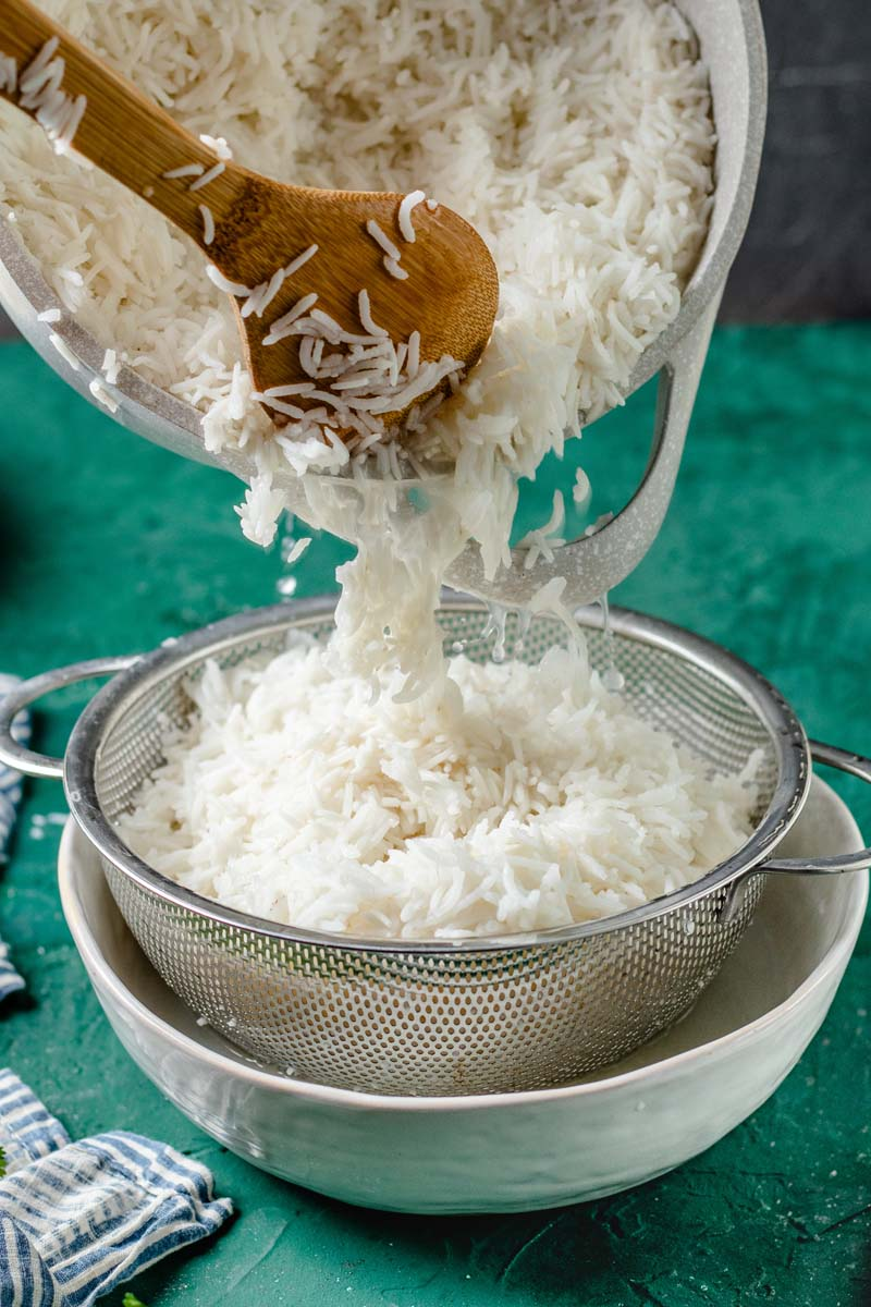 basmati rice strained through fine sieve