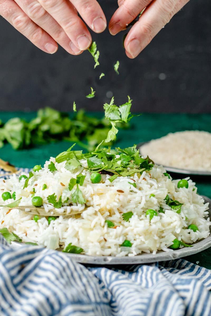 Garnish jeera rice