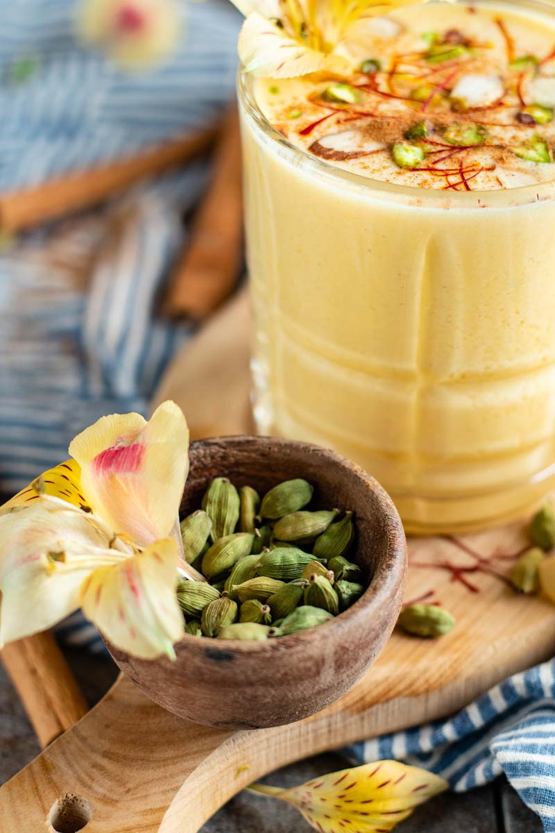 passion fruit lassi in a glass
