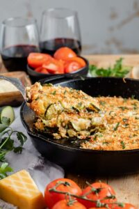zucchini gratin in cast iron skillet