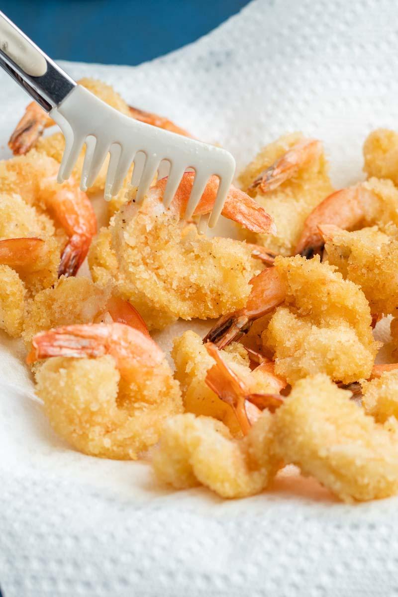 fried shrimp on a paper towel